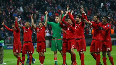 Bayern Munich celebrate their convincing win over Olympiakos