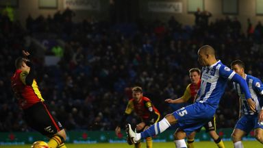 Bobby Zamora of Brighton and Hove Albion scores