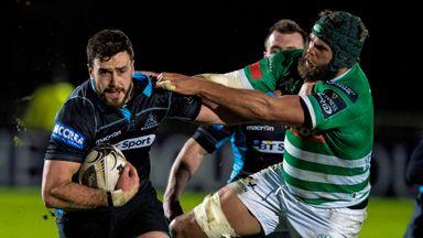 Glasgow's Alex Dunbar looks to get past Treviso's Dean Budd