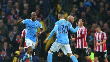 Fabian Delph celebrates with Nicolas Otamendi after scoring Manchester City's second goal against Southampton