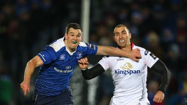 Leinster's Jonathan Sexton (L) and Ulster's Ruan Pienaar battle against each other