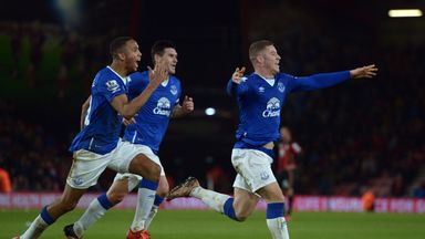 Everton's Ross Barkley celebrates scoring their third goal at Bournemouth