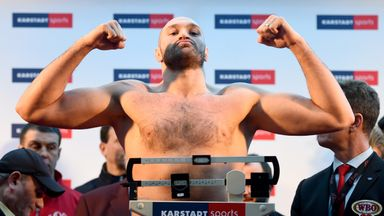 Tyson Fury of UK poses after the weigh in at Karstadt Sport