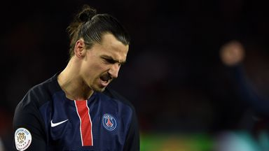 Zlatan Ibrahimovic celebrates after scoring a penalty for PSG
