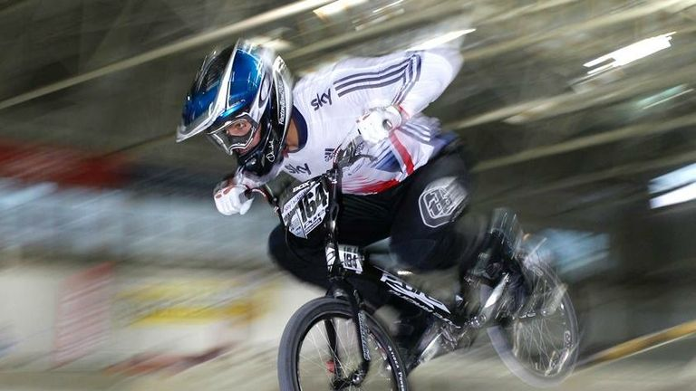 Quillan Isidore competes in the BMX winter national indoor series in Manchester (Copyright SJS Photography)