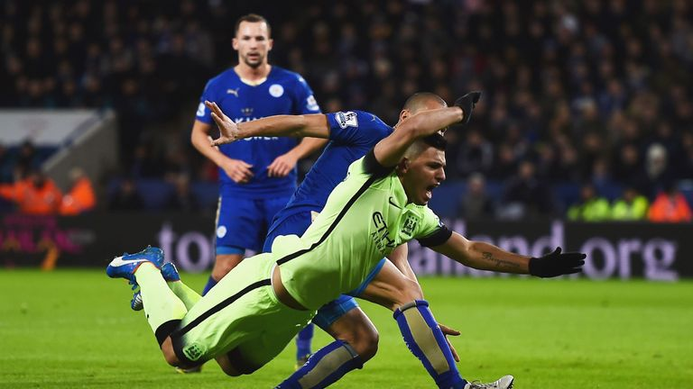 Sergio Aguero told Pellegrini he should have had a penalty after Gokhan Inler challenge