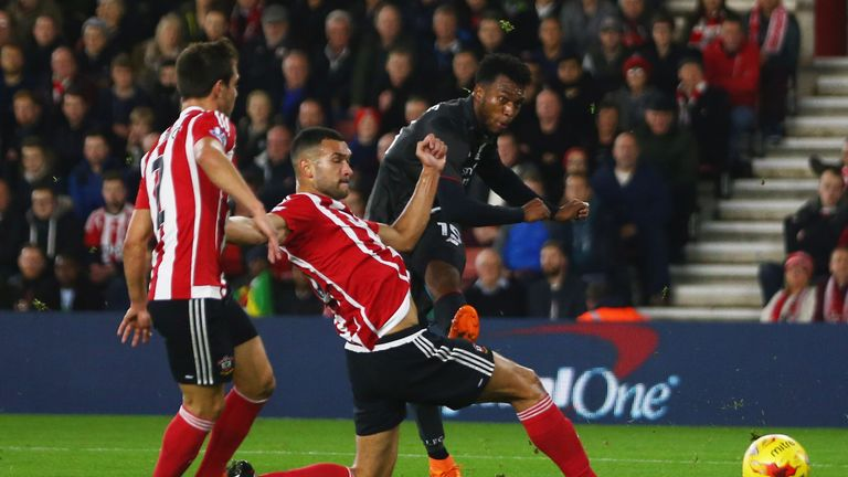 Sturridge beats Caulker to the ball to score in Liverpool's 6-1 win over Southampton in December
