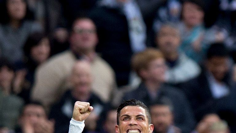 Ronaldo celebrates scoring against Real Sociedad