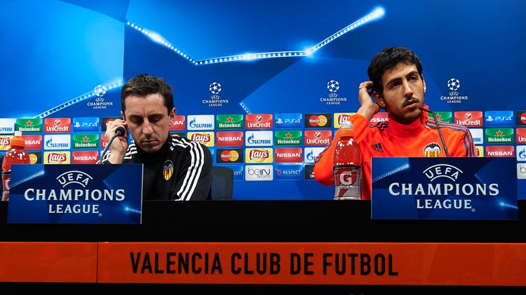 Gary Neville and Daniel Parejo face the media
