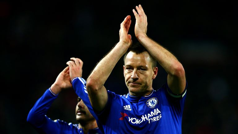 John Terry and Pedro applaud the Chelsea fans