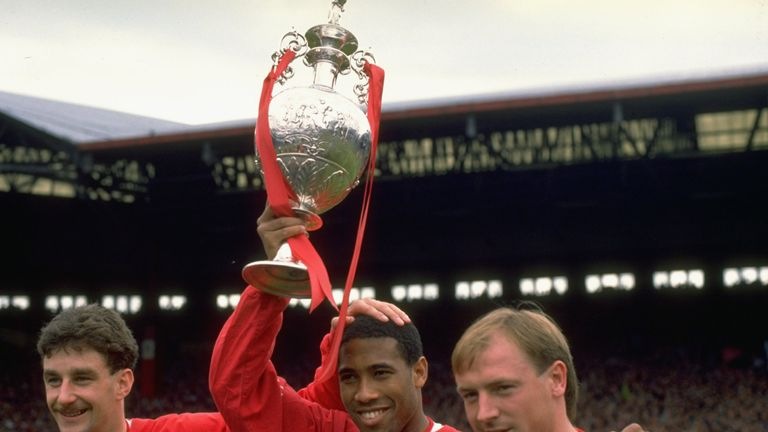 John Barnes (centre) won eight trophies in 10 years at Liverpool