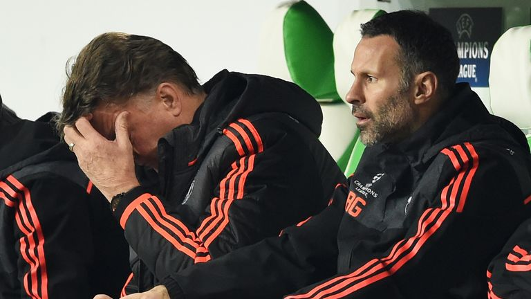 Manchester United manager Louis van Gaal  (left) with assistant Ryan Giggs