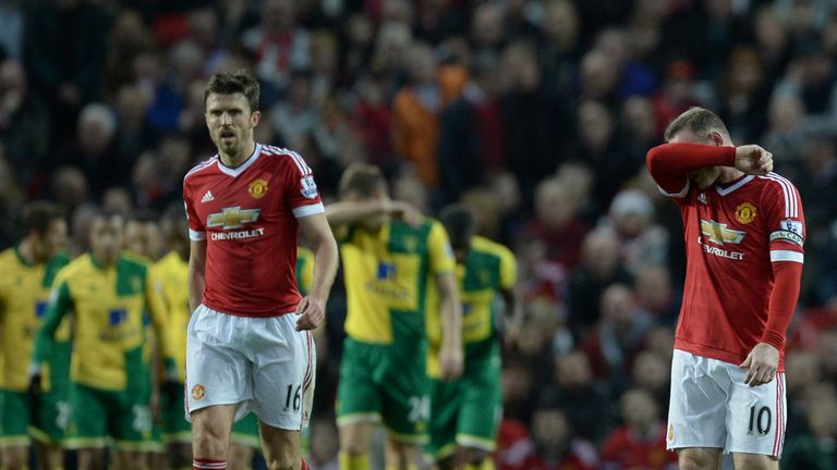 Michael Carrick and Rooney react as Norwich take the lead at Old Trafford