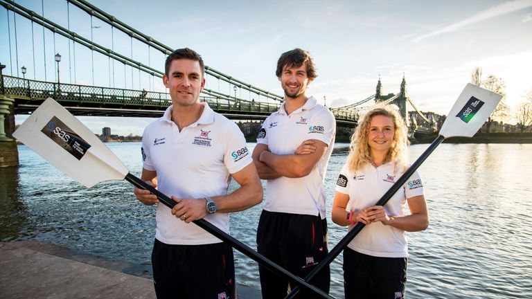 Jessica Leyden alongside Team GB rowers Pete Reed (left) and Paul Bennett (centre)
