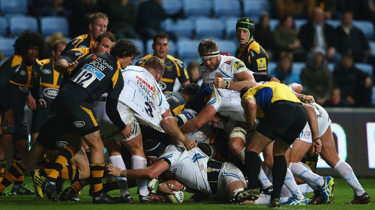 Mitch Lees burrows over for a try against Wasps