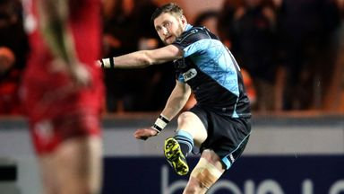 Finn Russell of Glasgow kicks a penalty against Scarlets
