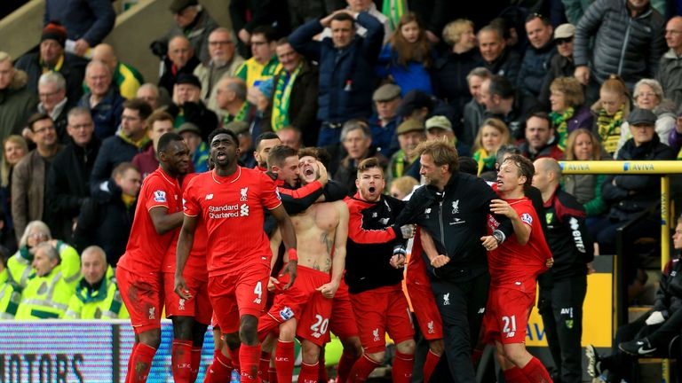 Liverpool celebrate Adam Lallana's late winner