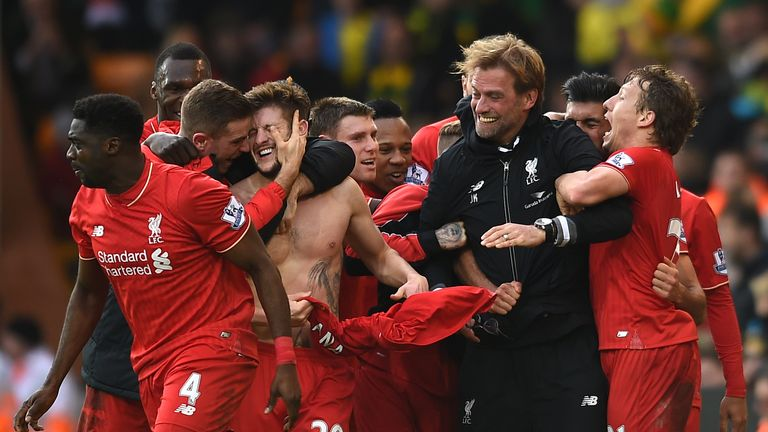 Adam Lallana's stoppage-time goal saw Liverpool beat Norwich 5-4 last month