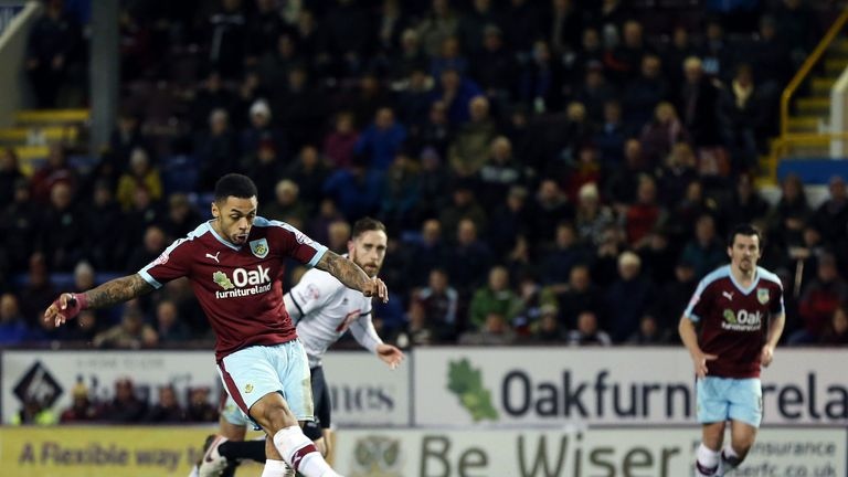 Burnley's Gray scores his side's second goal of the game from the penalty spot