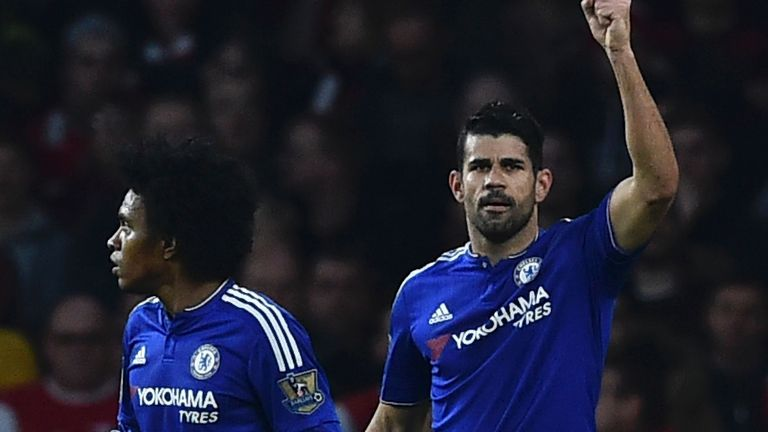 Diego Costa celebrates after scoring Chelsea's winner at Arsenal