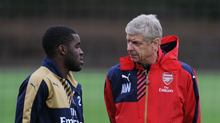 Campbell pictured with Arsene Wenger at Arsenal's training ground