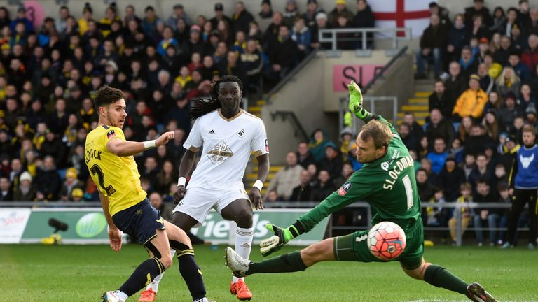 Gomis' 66th-minute goal was not enough for Swansea, who bow out of the FA Cup