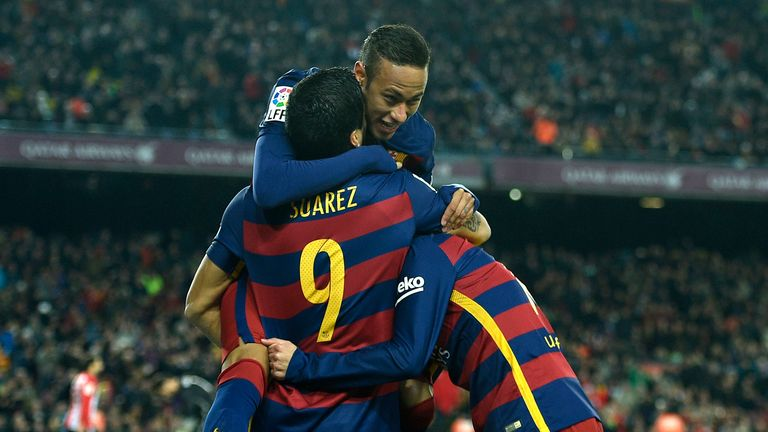 Luis Suarez and Neymar celebrate during Barcelona's 6-0 win
