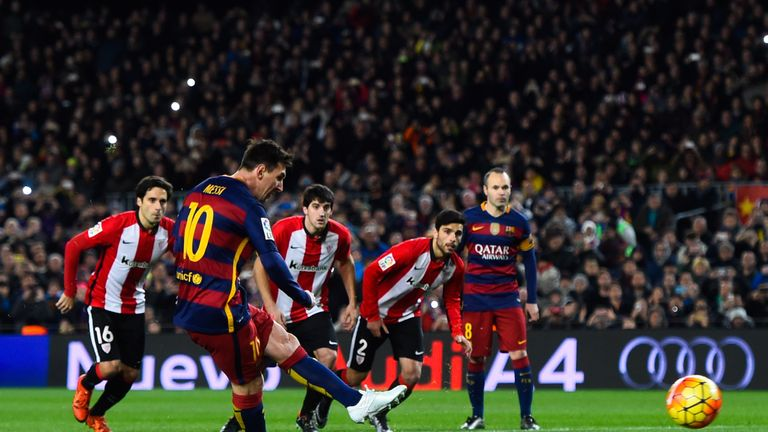 Lionel Messi scored a penalty in the seventh minute against Athletic Bilbao