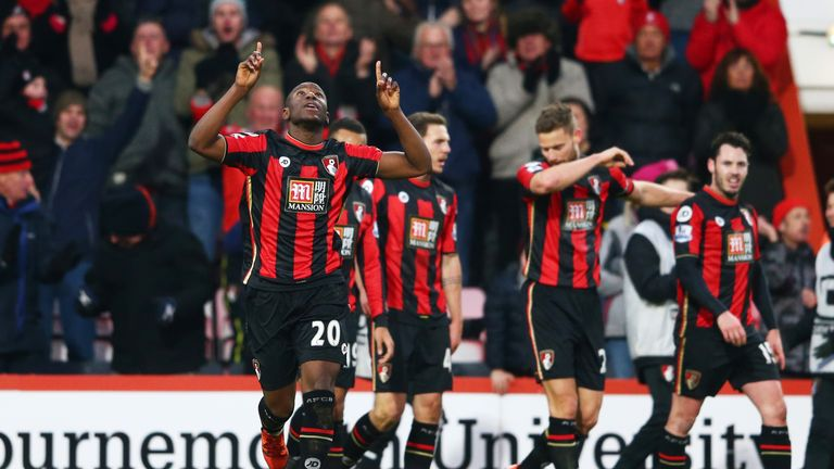 Benik Afobe of Bournemouth celebrates scoring