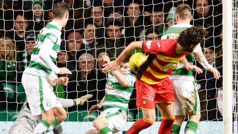 Kieran Tierney cleared the ball off the line to deny Partick a goal