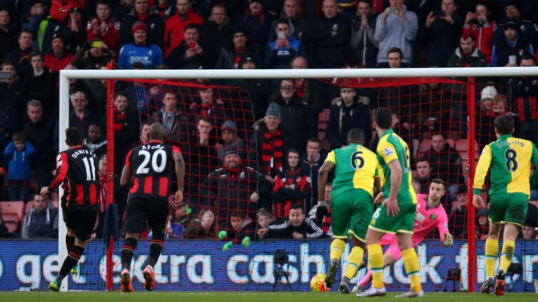 Charlie Daniels of Bournemouth coverts the penalty to score his team's second goal
