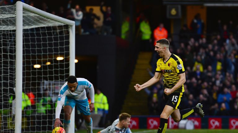 Craig Cathcart celebrates scoring Watford's second goal  against Newcastle
