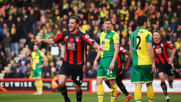 Dan Gosling celebrates scoring Bournemouth's first goal at home to Norwich