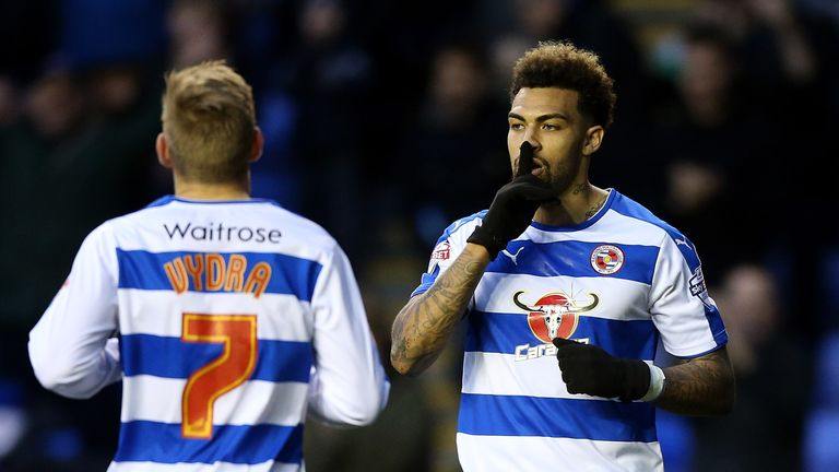 Danny Williams of Reading celebrates scoring his team's third goal against Walsall