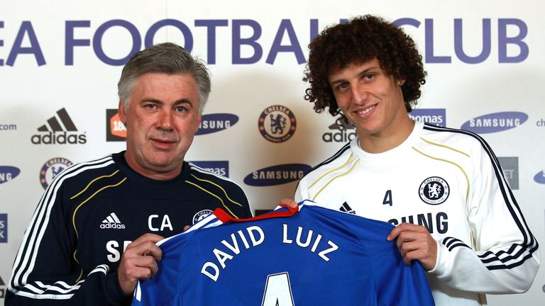David Luiz is presented as a Chelsea player by manager Carlo Ancelotti after his move from Benfica