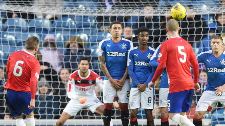 Dean Brett scores for Cowdenbeath with a free-kick against Rangers