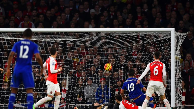 Diego Costa finishes at the near post