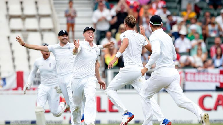 England celebrate during the third Test in Johannesburg