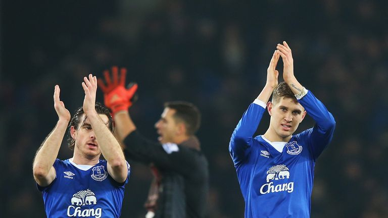 John Stones (R) celebrates Everton's win over Manchester City
