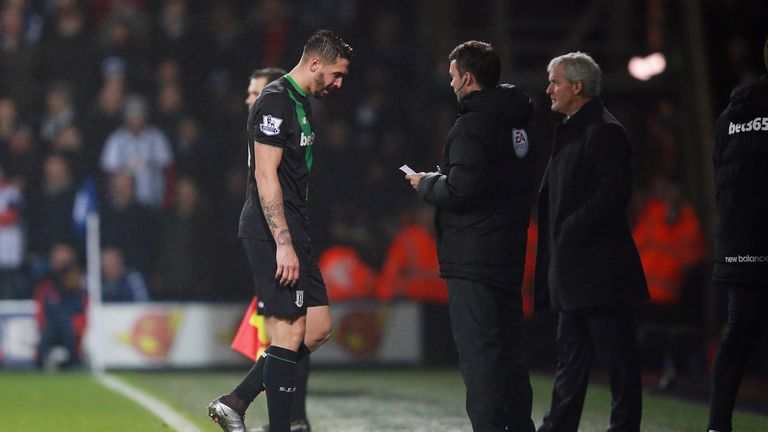 Geoff Cameron makes his way off after being sent off at The Hawthorns
