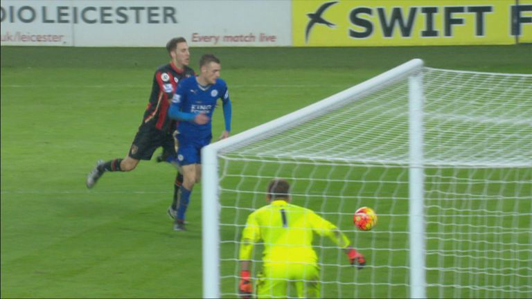 Vardy's (Leicester) penalty appeal is waved away after a collision with Dan Gosling (Bournemouth)