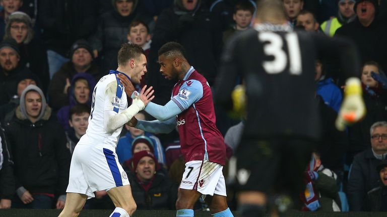 Jamie Vardy and Leandro Bacuna square off as the final whistle approaches