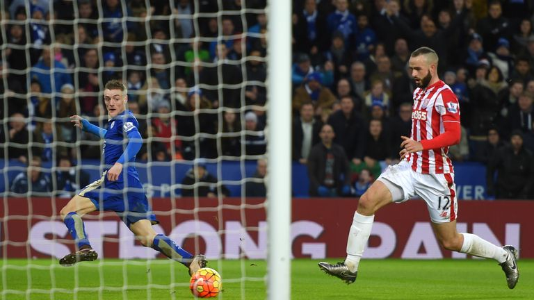 Jamie Vardy doubled Leicester's lead in the second half