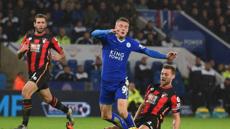 Simon Francis was sent off for this challenge on Jamie Vardy