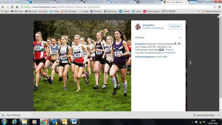 Jessica (far right) mixes it up in the cross country in Cardiff in January