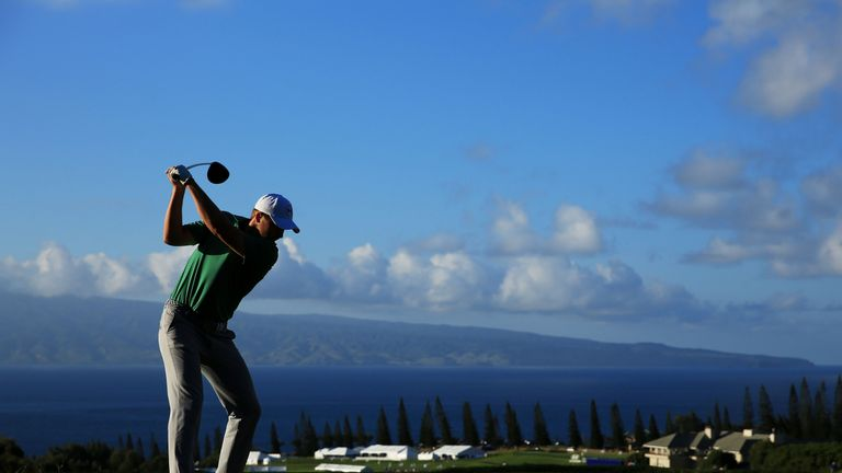 Jordan Spieth tees off on the 18th at the Plantation Course