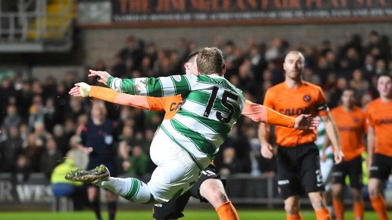 Kris Commons claims the goal of the night as he volleys in Celtic's fourth goal