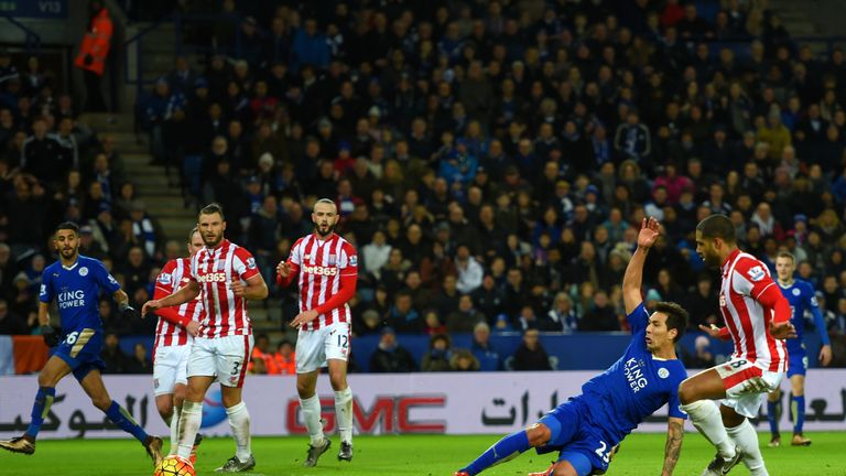Leonardo Ulloa scores Leicester's third goal to seal victory against Stoke