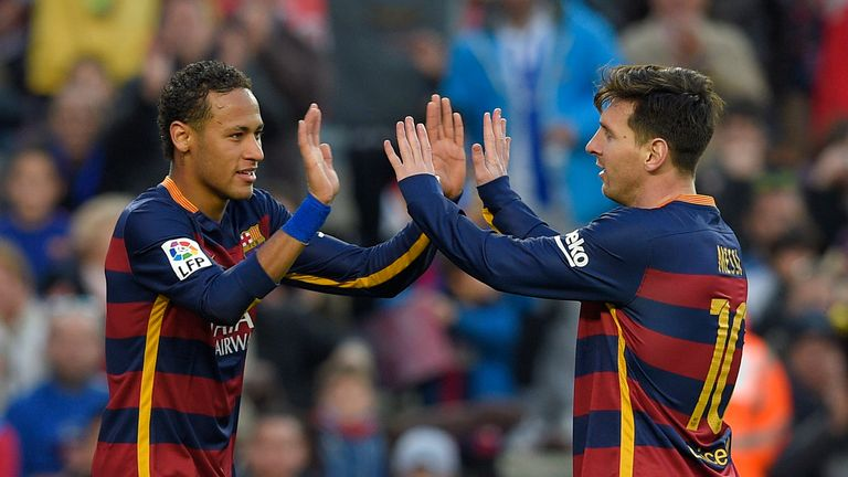Barcelona duo Neymar (left) and Lionel Messi both make it into the XI