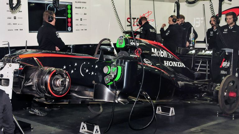 The MP4-30 in McLaren's garage